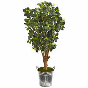 Nearly Natural 45andrdquo Panda Ficus Artificial Tree In Vintage Metal Bucket Decor