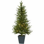 Nearly Natural 4.5' Christmas Tree W/clear Lights Decorative Planter Home Decor