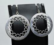 Vint Mexico Cii Sterling Silver 925 Large Circle Design Dangle Earrings 2 3/8