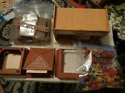 Vintage T. Cohn Stable Headquarters Tin Litho Building And Marx Toys Fort Cowboys
