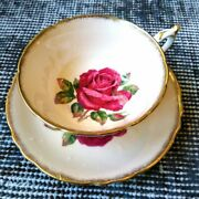 Vintage R. Johnson Pink Paragon Round-shape Teacup And Saucer Red Cabbage Rose