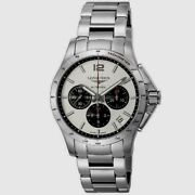 Longines Conquest Chronograph Silver Dial Stainless Steel Mens L36974066