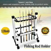 Portable 12 Rods Rack Fishing Rod Pole Holder Stand Storage Tool Aluminum Alloy