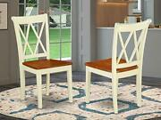 East West Furniture Clarksville Double X-back Dining Chairs In Buttermilk And...