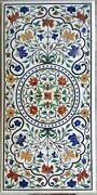 30x60 Marble Restaurant Table Antique Floral Design Dining Table Top For Decor
