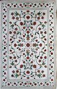 36x60 Inch White Marble Dining Table Top Carnelian Stone Inlaid Work Patio Table