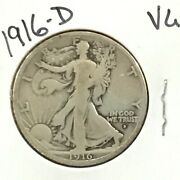 1916-d Walking Liberty Silver Half Dollar First Year Issue E9123