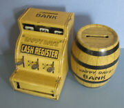 Old Happy Days Tin Toy Cash Register Bank And Barrel By J Chein And Co, Made In Usa