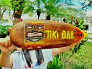 Handcarved And Painted Wood Tropical Style Tiki Bar With Flames 20 Surfboard