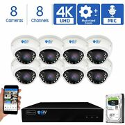 8 4k 8mp Motorized Zoom Ip Microphone Poe Nvr Ai Dome Security Camera System