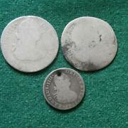 3 Coins Lot Mexico Colonial Silver 2 Of 2 Reales 1 Of 1 Real