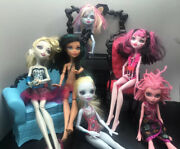 Monster High Doll Lot With Furniture And Dolls