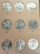 1986-2021 American Silver Eagle Dollar Coin Complete Unc Set And Dansco Book L093