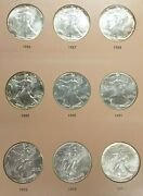 1986-2021 American Silver Eagle Dollar Coin Complete Unc Set And Dansco Book L094
