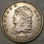 1830 Capped Bust Silver Half Dime Appealing Beautiful Sharp Drapery Hair Feather