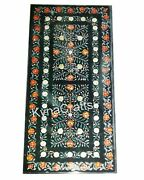 30 X 72 Inches Marble Dining Table Top Multi Color Stone Inlaid Work Patio Table