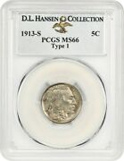 1913-s 5c Pcgs Ms66 Type 1 Ex D.l. Hansen - Popular First Year Of Issue