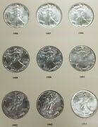 1986-2021 American Silver Eagle Dollar Coin Complete Unc Set And Book L095