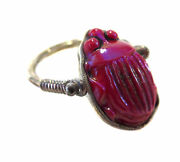 Glass Red Favrille Scarab Sterling Silver Ring - Lc