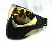 Push Unite Special Edition Paintball Mask Goggle Tropical Skull W/ Gold Lens New