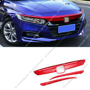 3x Red Front Bumper Grille Eyelids Cove Trim Strip P For Honda Accord 18-21