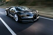 Black Bugatti Chiron Sports Car Wall Art Large Framed Canvas Picture