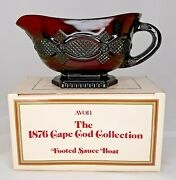 Avon 1876 Cape Cod Ruby Red Footed Gravy Sauce Boat In Original Box