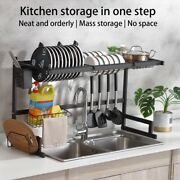 Over-the-sink Dish Drying Draining Rack- Kitchen Dishes Storage Organizer