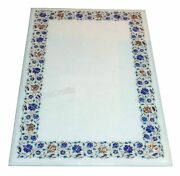 36x60 Marble Conference Table Semi Precious Stone Inlaid Work Dining Table Top