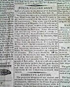 War Of 1812 William Henry Harrison And Naval Events 1812 Old American Newspaper