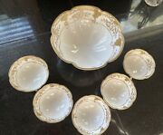 Vtg Hand Painted Nippon 3 Footed Gold Gilded Moriage Bowl 6 Piece Set Preowned