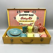 Vintage 1960s Gothamware Happy Day Outing Kit Picnic 4 Plate Setting Dishes