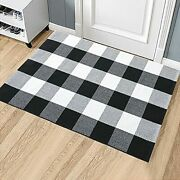 Plaid Door Mat Outdoor Rug Black And White Checkered Washable Doormat 23 X 35