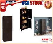 Wood Storage Cabinets 4 Doors Tall Pantry Bath Towels Cupboard Kitchen Organize