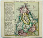 South Wales By Badeslade And Toms C1742 Genuine Antique Map Original Hand Colour