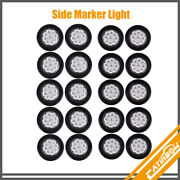 20pcs Clear/amber 2 9 Led Round Trailer Side Marker Clearance Light W/grommet