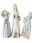 Lladro Lot Of 3 Porcelain Figurines Andldquowomanandduckandrdquo The Girl Woman With Basket