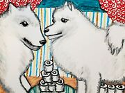 Samoyed Hoarding Toilet Paper Pop Art Print 11 X 14 Signed By Ksams Collectible