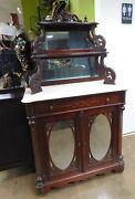 Antique 1800s Carved Marble Top Mahogany Bar Cabinet Etagere French Empire