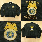 Vtg 70s 80s Usa Embroidered Satin Jacket Large New Haven Ct Teamsters Local 443