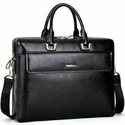 Cluci Women Oil Wax Leather Briefcases Slim Large Business 15.6 Laptop Black