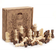 Amerous Wooden Chess Pieces Only Staunton Style Wood Chessmen With 3.15 King -