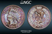 Ngc Ms-66 1888 Indian Head Cent Beautifully Toned And Tied For Finest Known Bn.