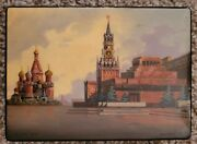 Russian Black Lacquer Box With Incredible St. Basils And Spasskaya Tower Painting