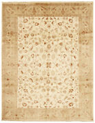Vintage Hand-knotted Carpet 8and03910 X 11and0397 Traditional Cream Wool Area Rug