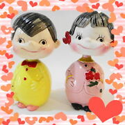 Showa 30 Peko-chan Poko-chanswinging Doll Piggy Bank Made Of Pottery At The Time