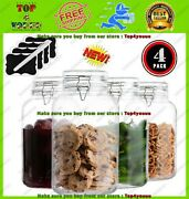 4 Pack - 1 Gallon Glass Jars With Lids Food Storage Jars With Airtight Lids