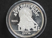 1988 Norman Rockwell Sunset 2 Troy Oz. Silver Round D8205
