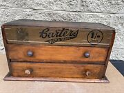 Antique Carters Tested Seeds Advertising General Store Display Cabinet Box