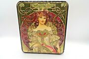 Lovely Russian Black Lacquer Inlaid Mother Of Pearl Box By Alphonse Mucha